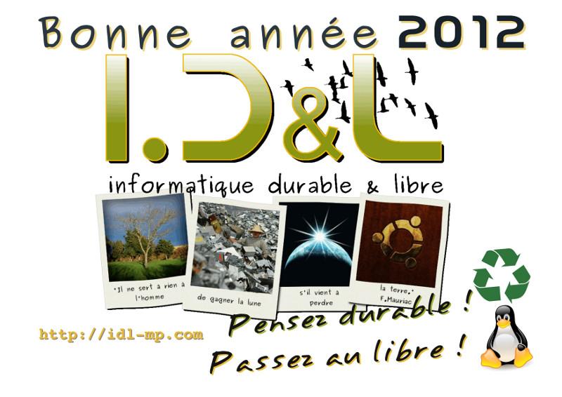 Carte de voeux pour une année 2012 durable et libre